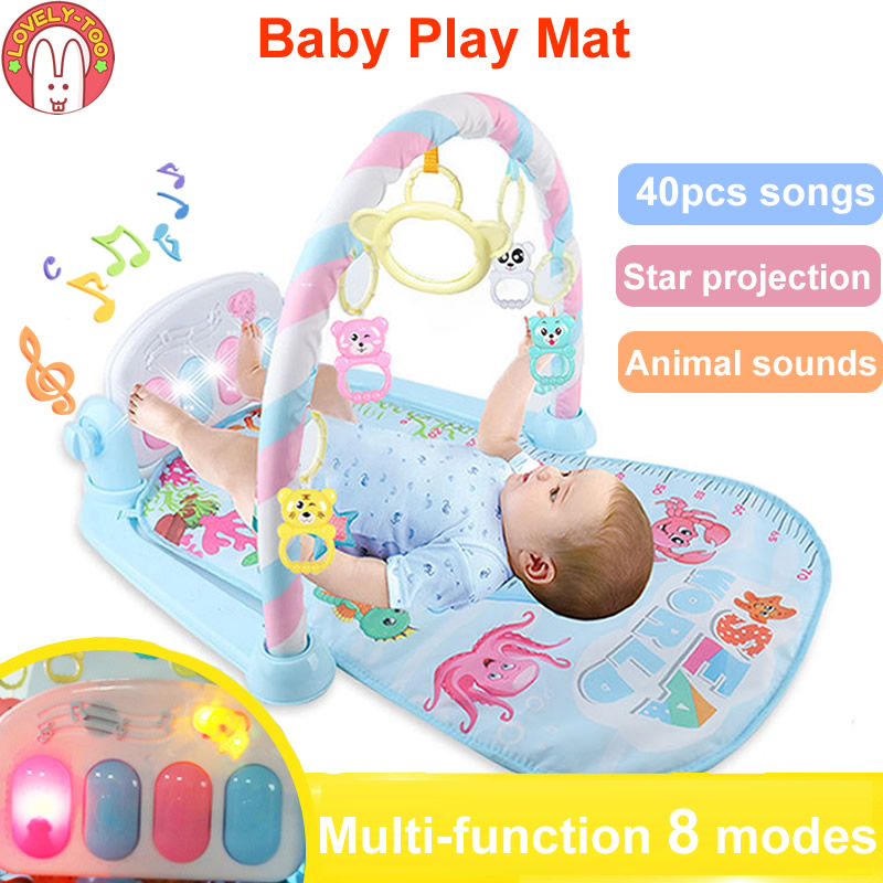 Baby Activity Gym Children's Play Mat 0-12 Months Developing Carpet Soft Rattles Musical Toys Activity Rug For Babies Games цена 2017