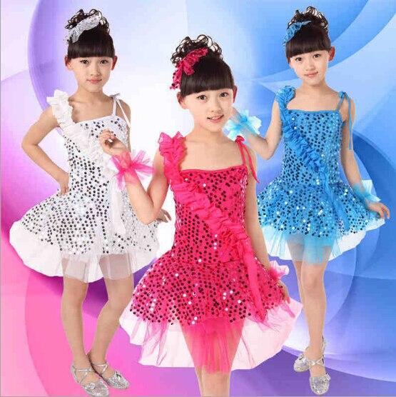 bff192728 ̀ •́ 4 Color niños Latino danza Lentejuelas Ballet Tutu para Latino ...