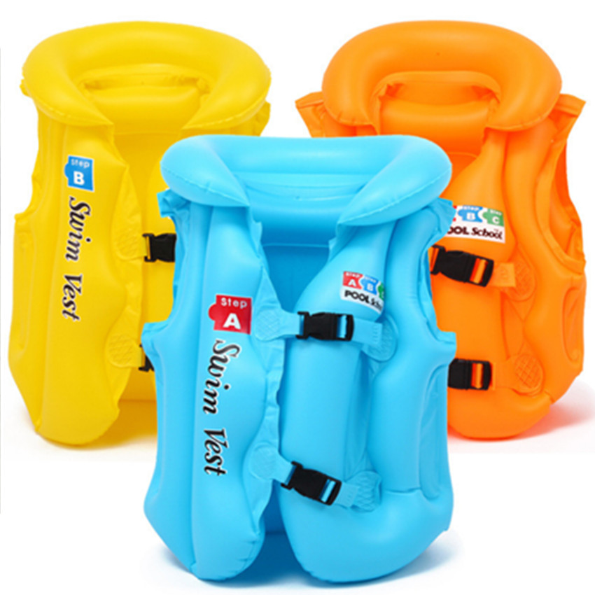 Life Vest Kids Inflatable Swimming Life Jacket Summer Children Drifting 3 Colors Safety Float S M L Learn -to Swim Biy Girl