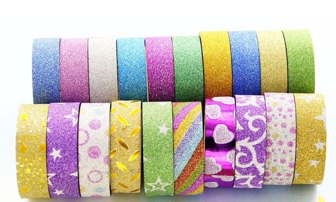 10PCS/lot Glitter Washi Tape Stationery Decorative Adhesive Tapes DIY Colorful Masking Tape Stickers School Supplies