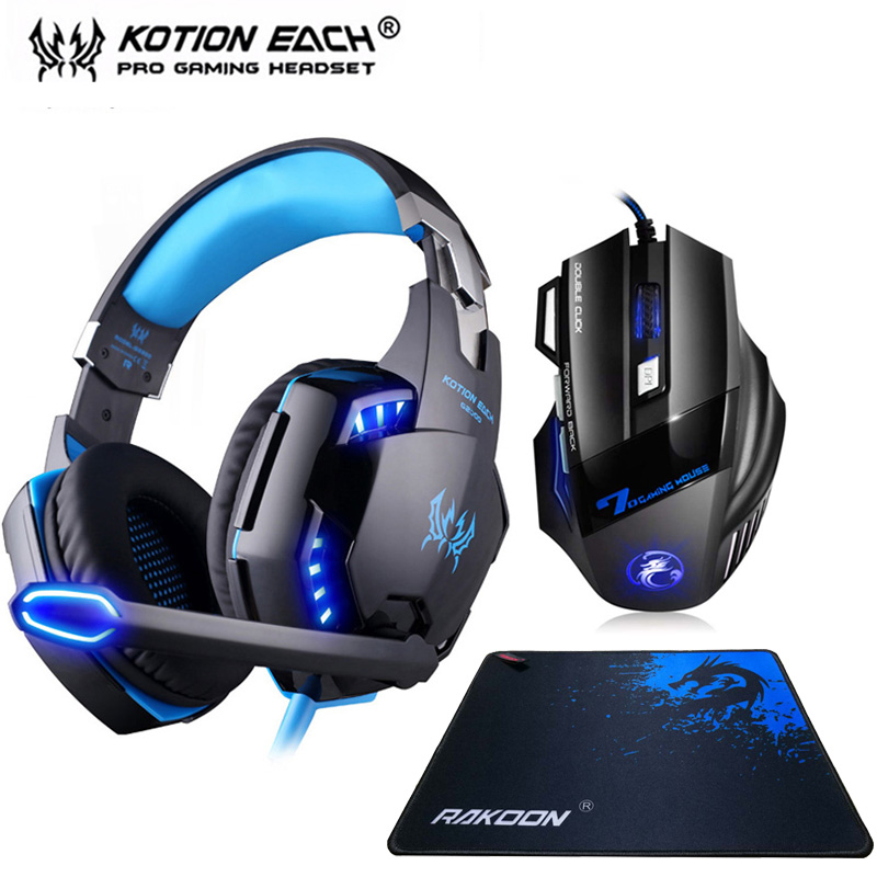 Kotion EACH G2000 Gaming Headset Stereo Deep Bass Headphones with Mic LED Light+Optical 5500DPI Gaming Mouse+Mouse pad for Gamer kotion each series gaming headset g2000 g2100 g2200 g4000 g9000 deep bass stereo headphones with mic 2 2m wired earphone for pc