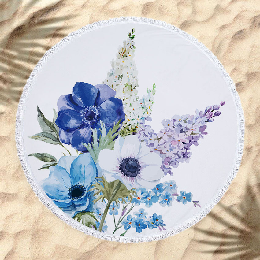 Soft Summer Round Leaves Flowers Beach Towel for Adults Kids