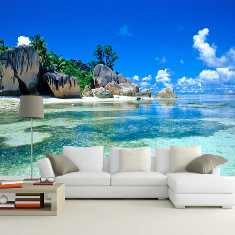 Custom Mural Wallpaper 3D Seaside Landscape Photo Wall Mural Living Room TV Bedroom Home Decor Wall Papers Papel De Parede Sala