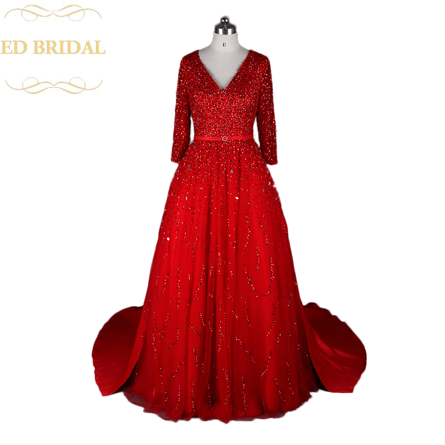 ✅Real Sample Long Sleeve Heavy Beaded Sparkly Tulle Couture Evening ...