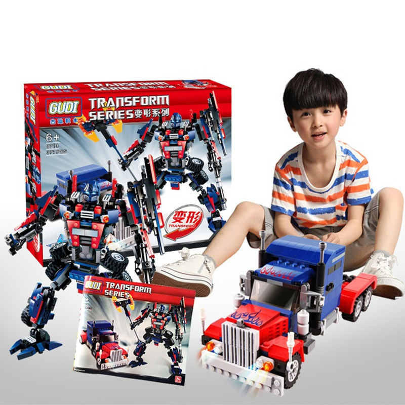 Gudi 8713 377pcs Transform Series  Transformation Robot Car Big Truck Building Block Model Toy Christmas gift for child