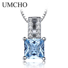 UMCHO 6*6mm Gemstone Nano Sky Blue Topaz 925 Sterling Silver Necklaces Pendants Engagement Wedding Necklace For Women With Chain