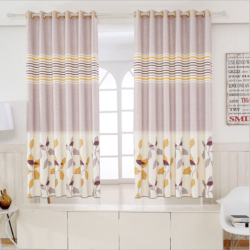 Children Room Divider Kitchen door curtains Pastoral Floral Window treatments Grommet Printed Short curtains Single panel