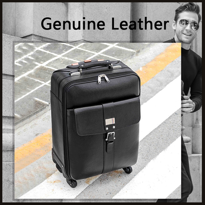 Letrend New Fashion Luxury Cow Leather Genuine Leather Rolling Luggage Trolley Business Boarding Box Trunk Suitcases Travel Bag