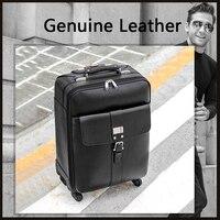 Letrend Yeni Moda Lüks Inek Deri Hakiki Deri Haddeleme Bagaj Arabası Iş Yatılı Kutusu Bagaj Bavul Seyahat Çantası