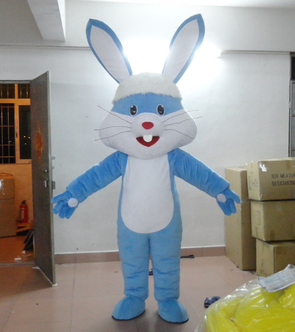 Blue Rabbit Mascot Costume Free shipping Holiday special clothing  for Halloween party event