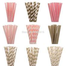 HOT 25pcs/lot Gold Pink Paper Straws For Kids Birthday Wedding Decoration Party Event Supply Mickey Minnie Mouse Cupcake Flags(China)