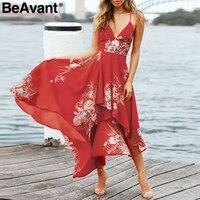BeAvant 2018 Strap V Neck Chiffon Dress Women Boho Beach Floral Print Long Dress Summer Back