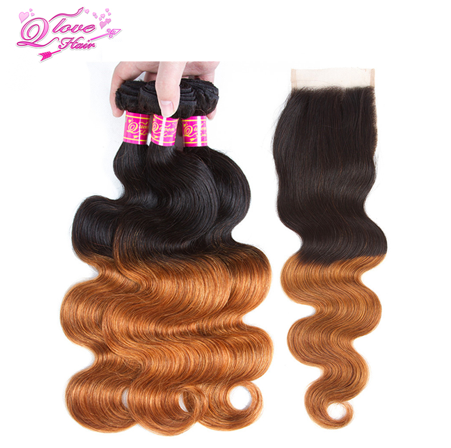 Queen Love Hair Pre-Coloed Ombre Mongolian Body Wave Hair Bundles With Closure 1B/30 Non Remy Hair Weave Human Hair Extensions