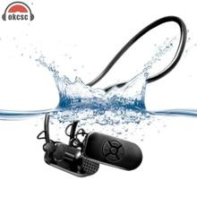 Okcsc костной проводимости MP3 8 г Водонепроницаемый плеер наушников защитить барабанную перепонку для лета Одежда заплыва