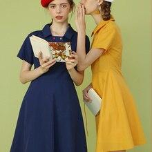 Линетт's CHINOISERIE Лето дизайн для женщин милый минимализм элегантный Дизайн Винтаж двубортный платья поло