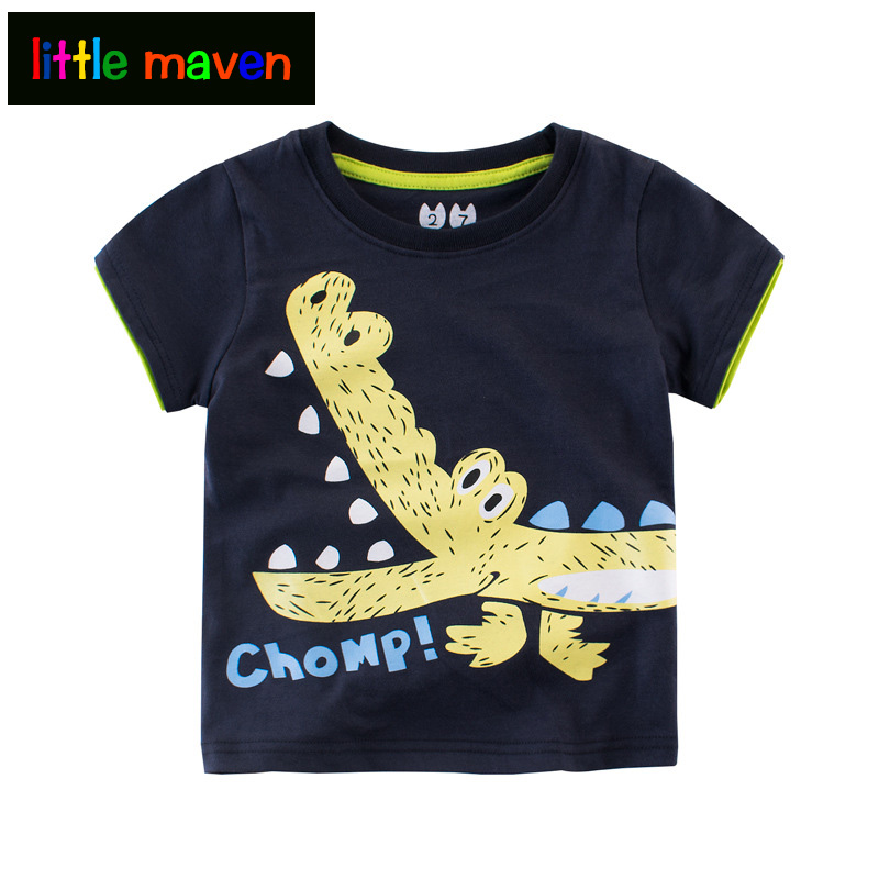 2017 T-shirt Clearance 2 Pieces Summer T-shirt for Boys Only 8.68$ Short-sleeved Cartoon Cotton Baby Boys Clothes to School Tops