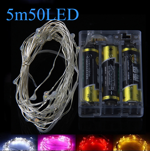 5M 50 led Fairy String Lights lamp 3AA Battery operated for Xmas Garland Party Wedding Decoration Christmas Flasher Fairy Lights