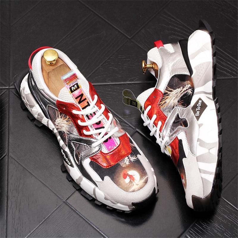 Ayakk.'ten Erkek Rahat Ayakkabılar'de Yüksek Top Sneakers Erkek Baskılı Ayakkabı Moda Rahat vulkanize ayakkabı Zapatillas Hombre 4 #15/15E50'da  Grup 1