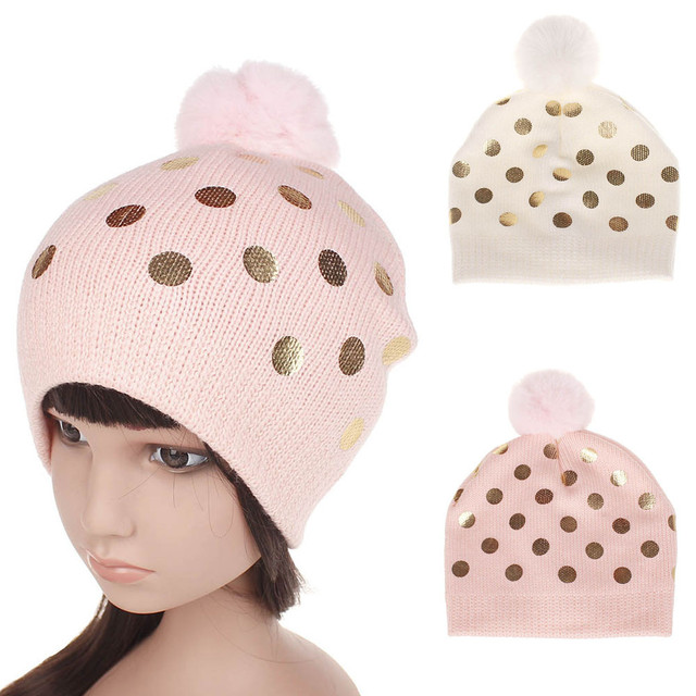 034d3dec8de Baby boy girl hat children polka dot knitted wool hat children winter warm  beanie hat lovely Hair ball hat Sombrero  2