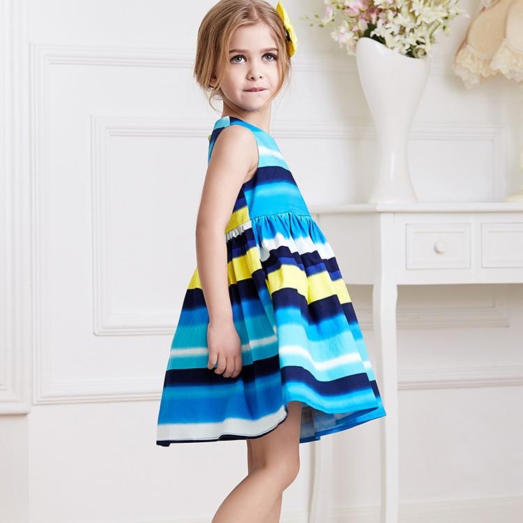 2017 summer new sleeveless cotton children dress children in Europe and America children's clothing girls striped dress democracy in america nce