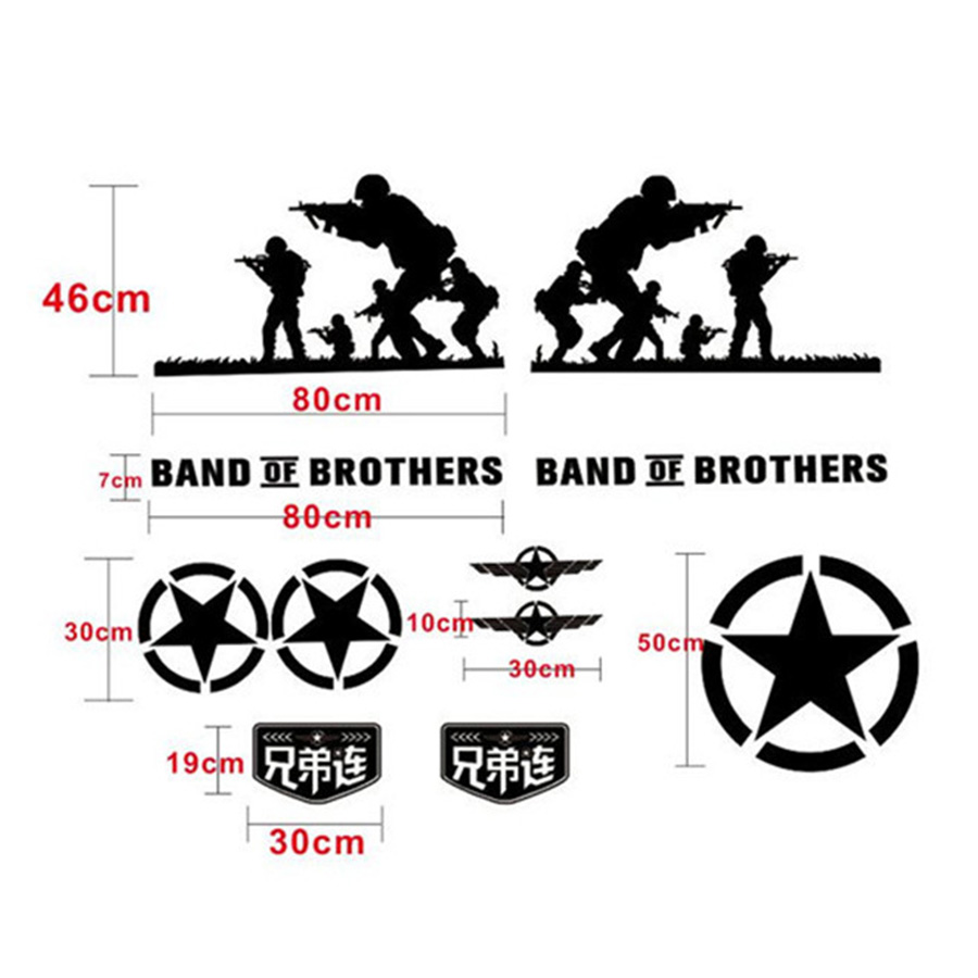 1 set black vinyl film car sticker soldier of brothers army style car decal for jeep