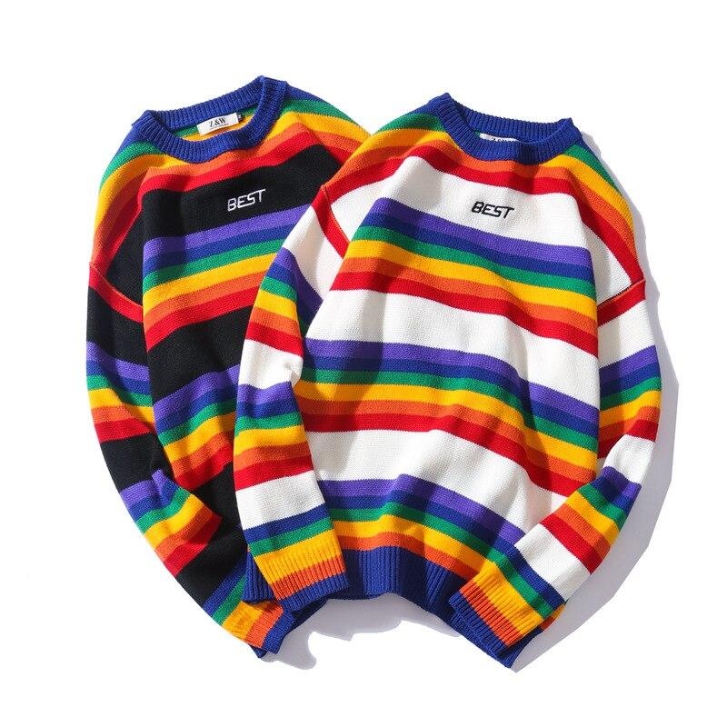 Letter Print Knitwear Sweaters Men Color Block Rainbow Striped Sweater Harajuku Retro Couple Casual Streetwear
