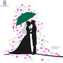 Couple in a Wedding Shadowy image Unique Design Customized Gift Best Wishes for Happiness DIY Fingerprint Guestbook Souvenir