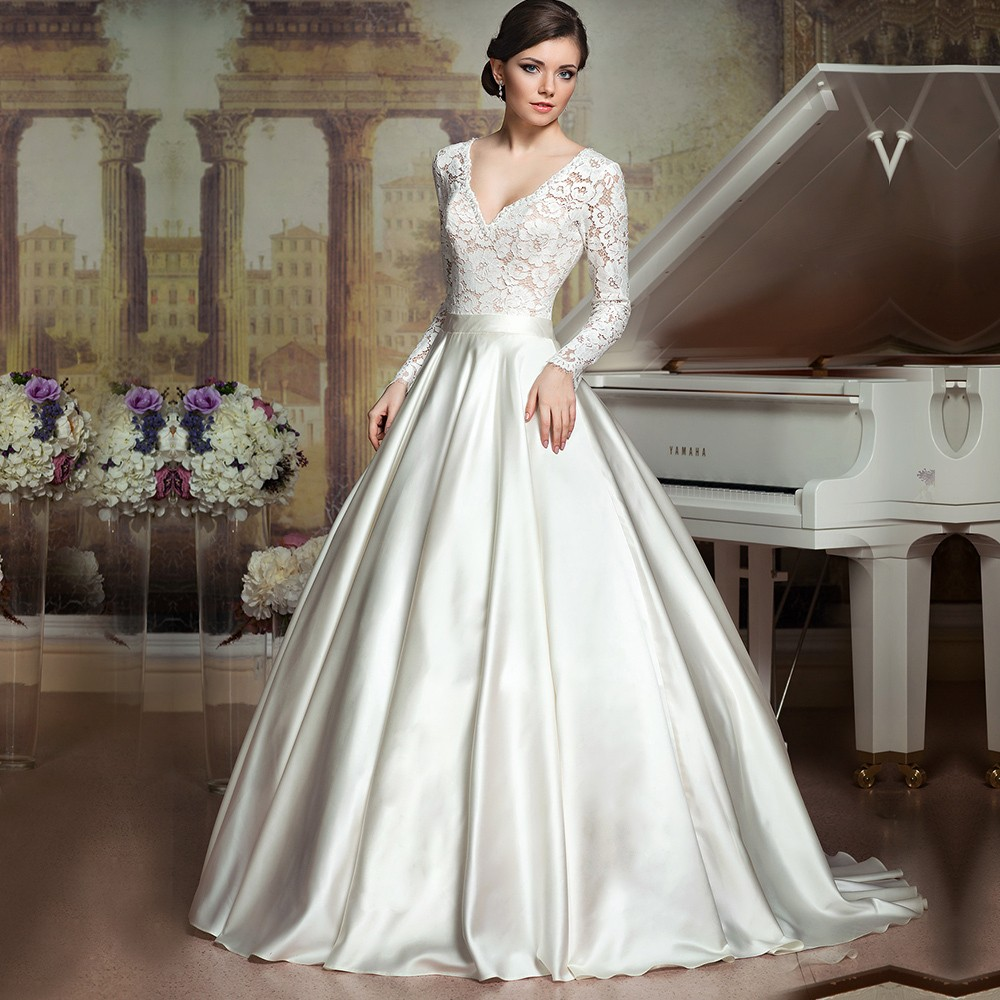 Vintage romantic long wedding dress 2016 new long sleeve v for Long sleeve dresses for wedding party