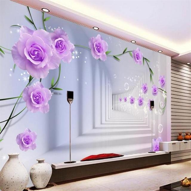 Beibehang 3D Wallpaper Purple Rose 3D Stereo Space Extended Living Room  Bedroom TV Background Mural Wallpaper