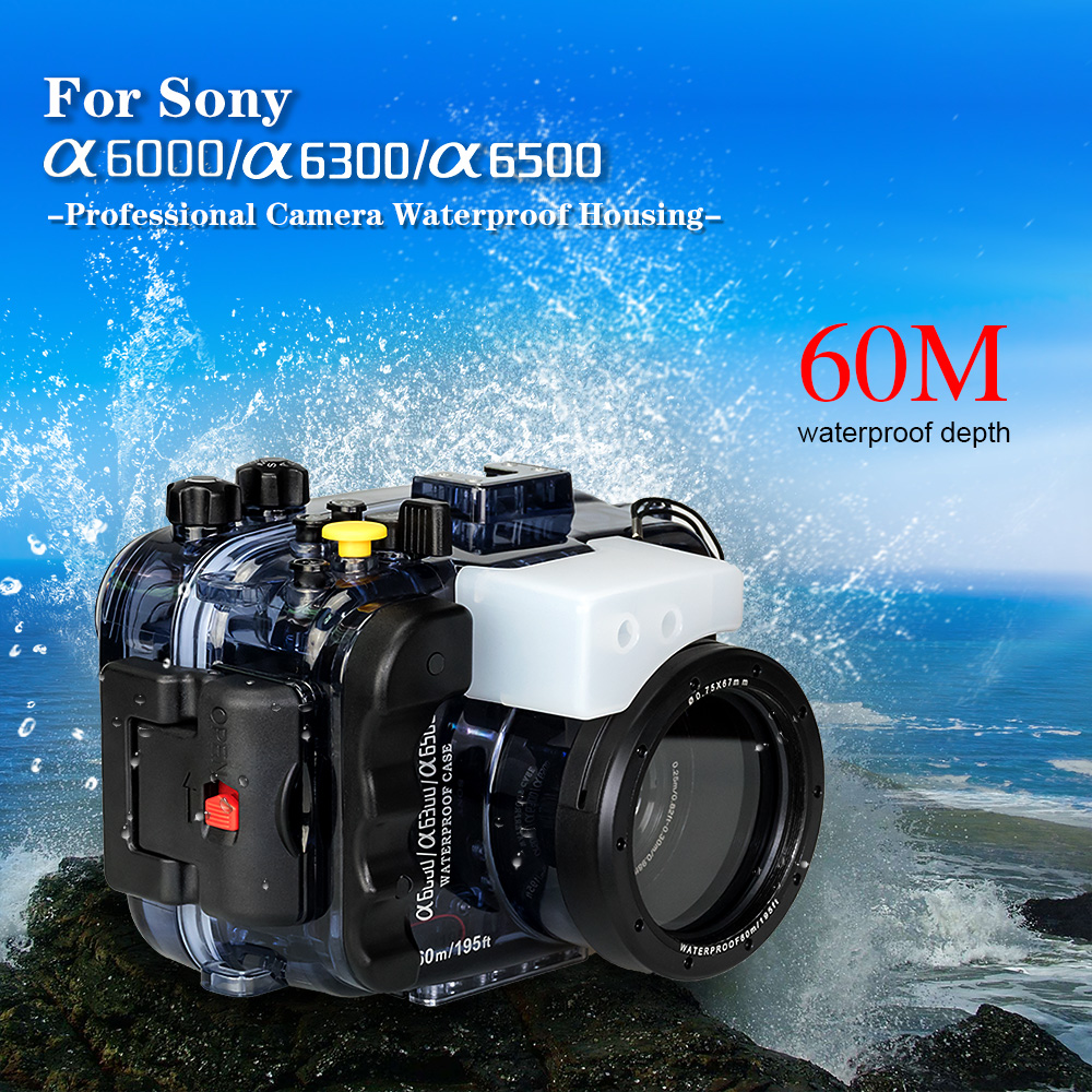 Seafrogs 195FT/60M Waterproof Underwater Housing Camera Diving Case for Sony A6500 A6300 A6000 Camera Bag Case Cover