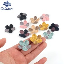 8 Colors 20pcs 32mm Woolen flower Handmade 3d Flowers for Headbands Appliques Sewing Wedding Garment dresses Accessories DIY(China)