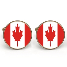 Canuomen Men Shirt Cuff links Canada Glass Cabochon French Cufflink Copper Cloth Accessory Charm Jewelry Gift(China)