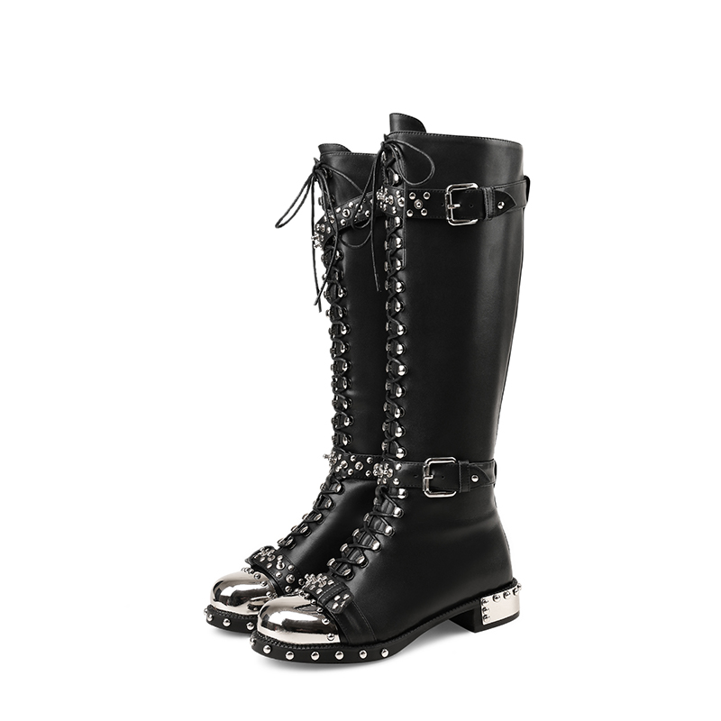 Black Hot Woman Boots Metal Round Toe Studded Long Booties Belt Buckle Side Zipper Women Shoes Chaussures Femmes Front Lace Up black lace up pu obi belt