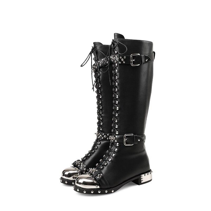 De Botines Arriba Lateral Cinturón Metal Pic Botas Femmes as Del Pic Cordón Ronda Zapatos Tachonado Mujer Negro Chaussures Hebilla Cremallera Largo Caliente Frente As xFHvwqtC