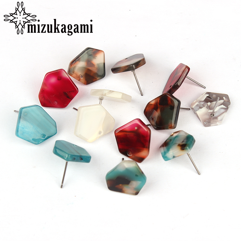 15mm 6pcs/lot Acetic Acid Resin Irregular Geometric Earring Base Connectors For DIY Earrings Jewelry Making Finding Accessories