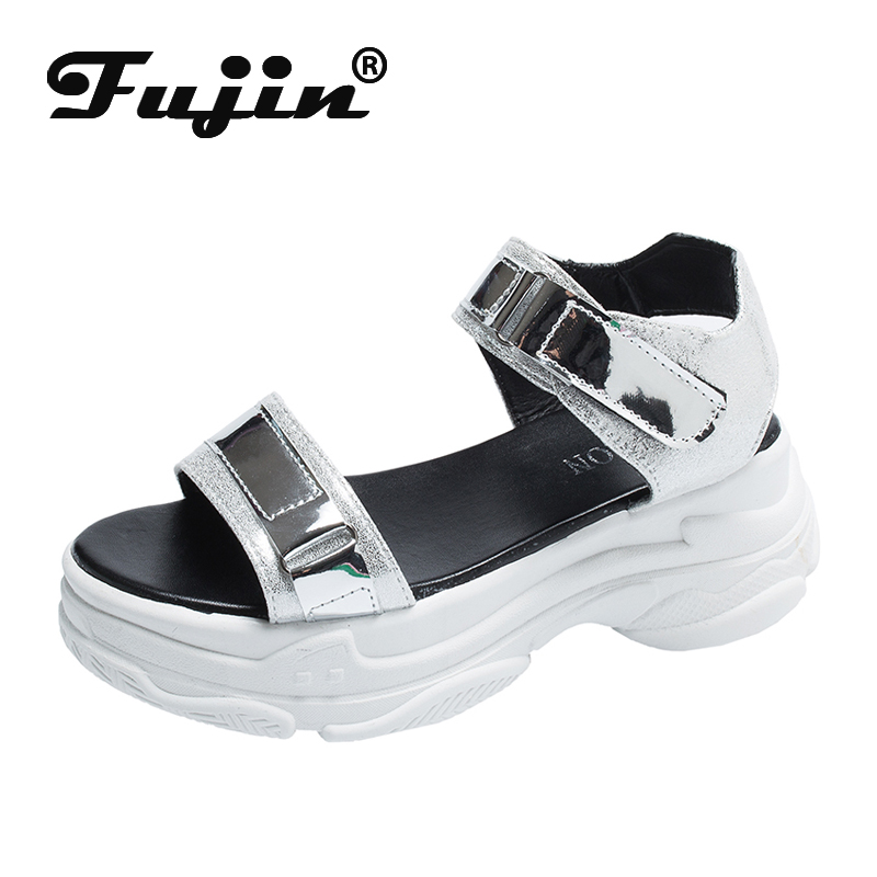Fujin Female Sandals Shoes Wedges Platform Open-Toes High-Heel Fashion Summer Lady PU