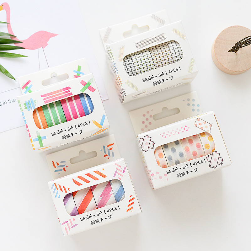 4 Pcs 15mm*5m Color Paper Washi Tape Set Stripe Twill Grid Dots Masking Tapes Decoration Sticker Scrapbooking  Stationery A6041