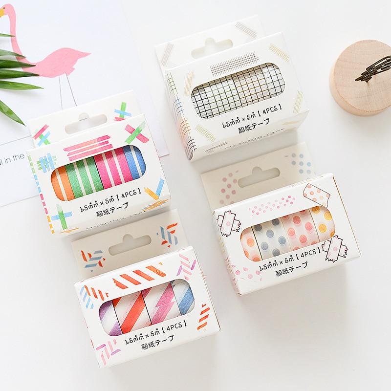 4 Pcs 15mm*5m Color Paper Washi Tape Set Stripe Twill Grid Dots Masking Tapes Decoration Sticker Scrapbooking  Stationery A6041