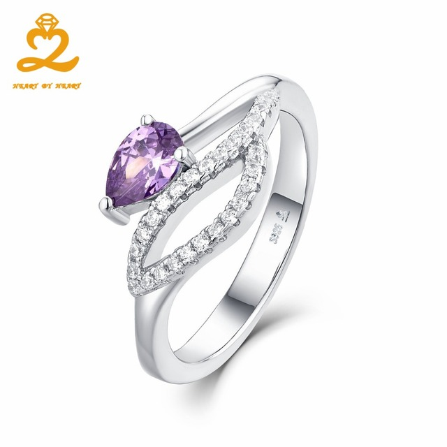 Heart By Luxury Ring Fine Purple Amethyst Stone Wedding Anime Jewelry Pure 925 Sterling Silver