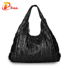 Large Capacity Woman Bags Genuine Leather Handbags Pleated Design Popular 2017