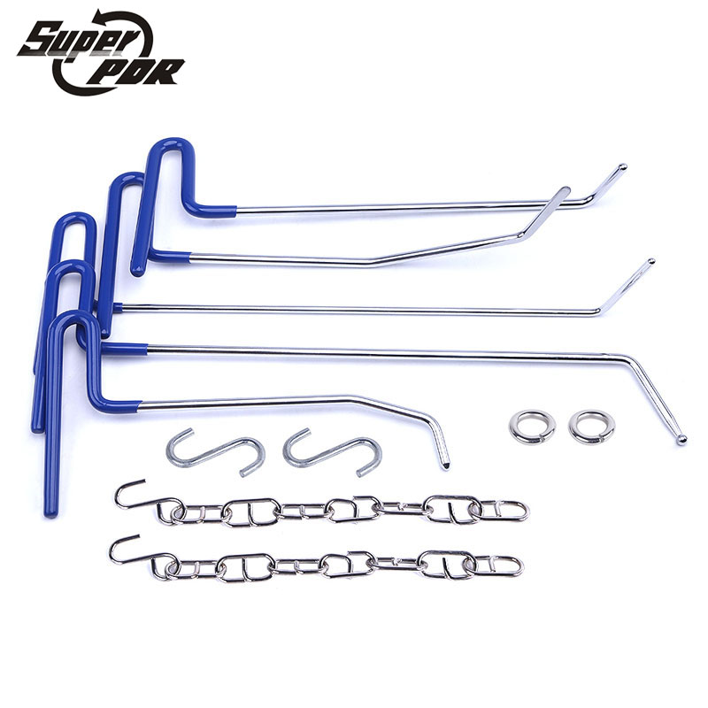 PDR Hooks Tools Push Rod Whale Tails Rods Paintless Dent Repair Tool To Remove Dents Auto Tool Set Door Dings Damage Repair Kit