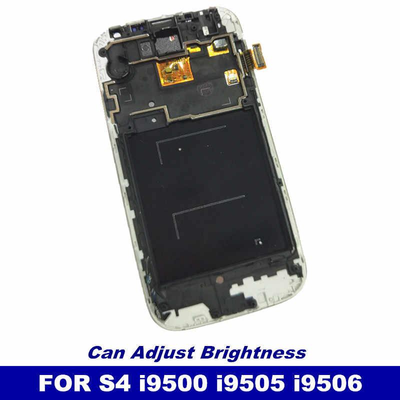 100% اختبار الاستشعار LCD قطع غيار سامسونج غالاكسي SIV S4 i9500 i9505 i9506 شاشة الكريستال السائل محول الأرقام بشاشة تعمل بلمس مع الإطار