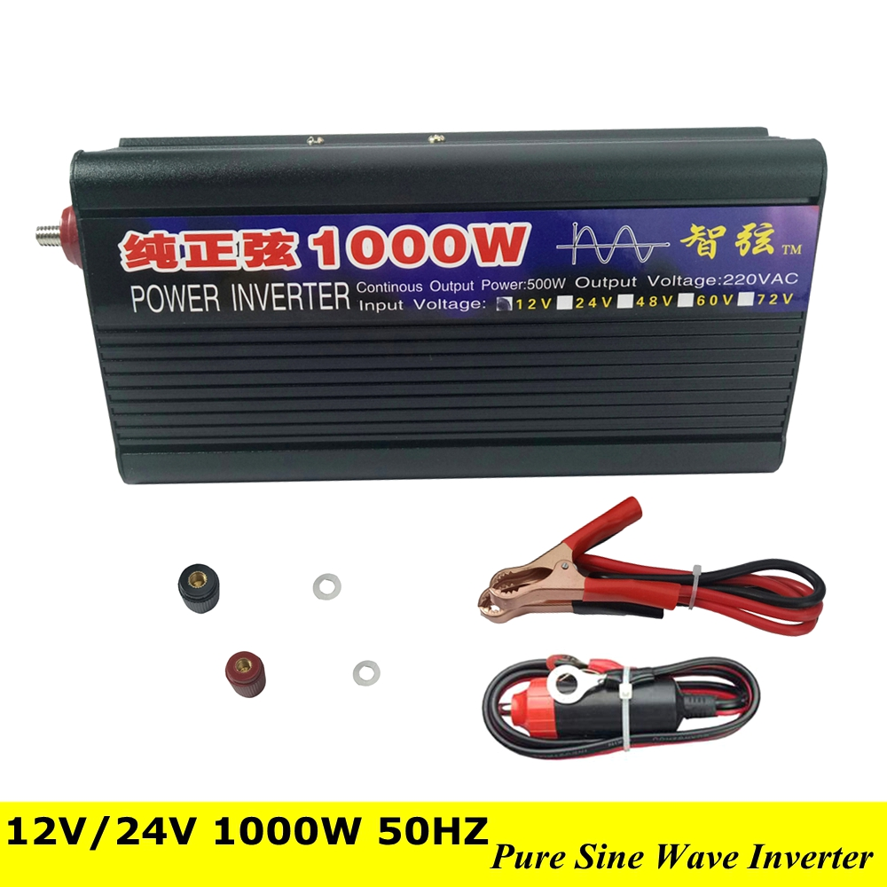 Peak Power 1000W DC AC Inverter Converter Pure Sine Wave Power Inverter Converter DC 12V 24V