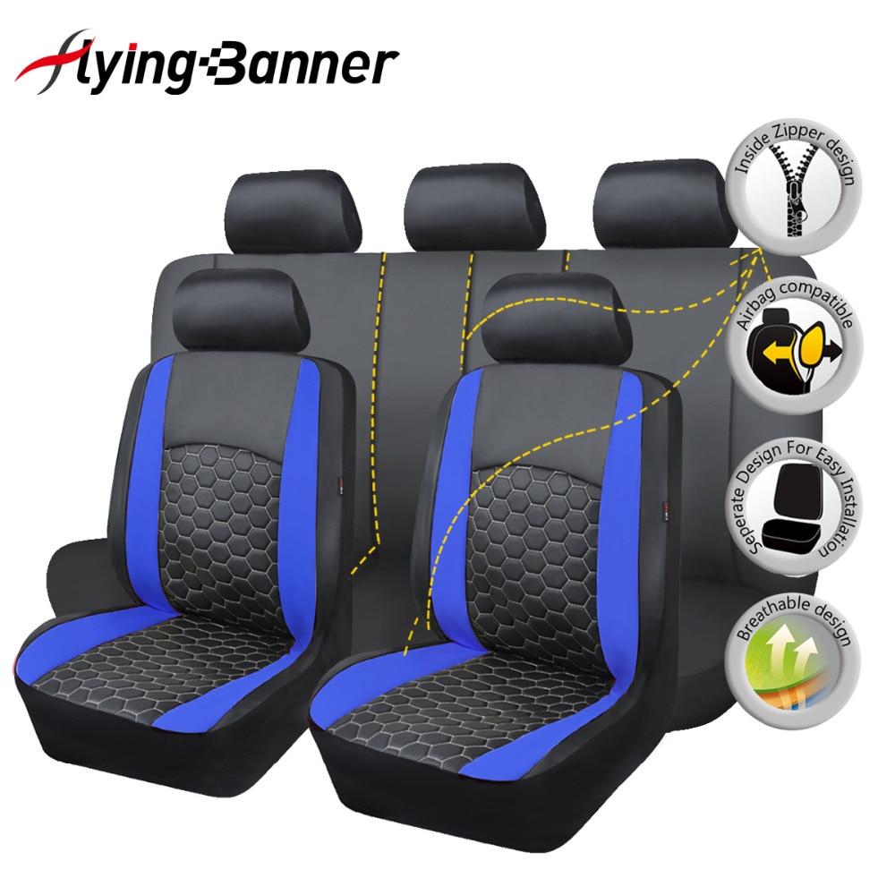 Delux PVC do assento de carro cobre um conjunto duplo laminado bordado airbag banco dividir 40/60 50/50 60/40 SUV traseira compatível