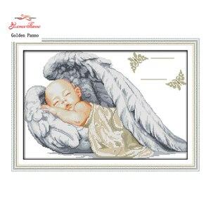 Golden Panno, anjinho, sono do bebê, padrão de impressão de lona DMS DMC 14CT 11CT Bordado Ponto Cruz Needlework Conjuntos de kits de 0123