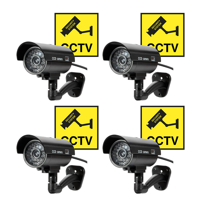 все цены на 4pcs/Lot Waterproof Dummy Camera Bullet Flashing Red LED Outdoor Indoor Fake CCTV Security Simulation Camera with Sticker