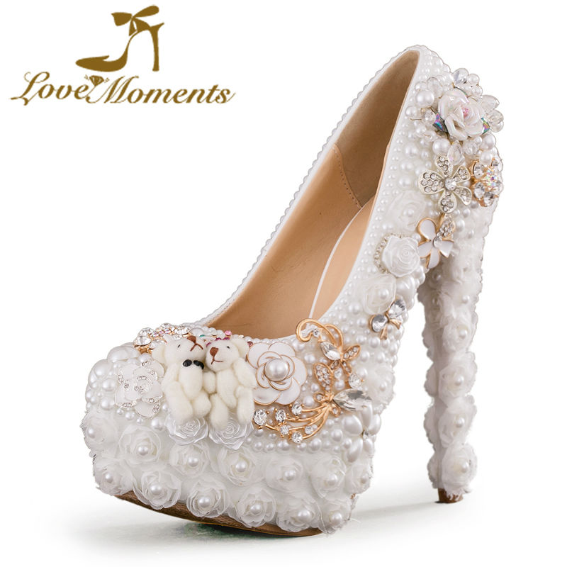 Love Moments high heels white women shoes wedding shoes bride Party dress pearl shoes ladies valentine shoes