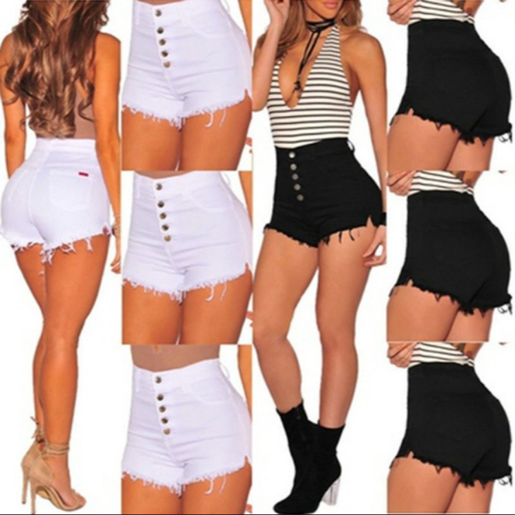 Women Summer High Waist Denim   Shorts   Plus Size Slim Stretch   Short   Jeans Femme Tassel   Shorts