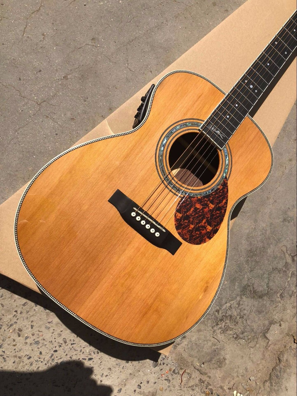 free shipping best quality OM guitars Ebony Fretboard OM body signature acoustic electric Guitar free shipping telec electric guitar natural tl guitar maple body and main bearing guitars oem guitarra eletrica telecaster