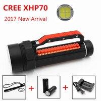 Новинка 2017 года Дайвинг фонарик факел CREE XHP70 светодиодный высокое Яркость 5000 люмен подводные 100 м Водонепроницаемый белый свет